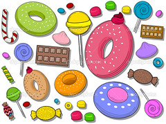 Sweets Icons (brandmilaline) Tags: clippingpath eps cane icons funky candy donuts vector cutout doodle sweets design things sugary dessert clipart objects cartoon isolated elements chocolate decoration illustration