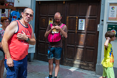 Pecs and Pups (Michael Goldrei (microsketch)) Tags: hungary bag magyarorszg quinque eu street 2016 red photos 3 photographer st photography iii yellow photo basilicae old european pup dog sopian canon backpack tshirts top tops baranya man aug quinqueecclesiae pcs rucksack pink 5d august 16 mark europe pecs men