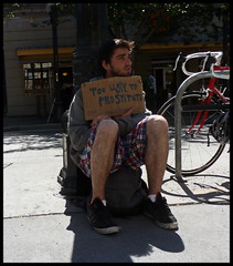 too ugly (D G H) Tags: daveheston ugly prostitute panhandler street seattle sign male candid photography dgh