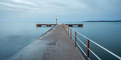_APR1668 (www.adamoprieto.es) Tags: agua amanecer calamillor costa embarcadero farola horizontal mallorca mar orilladelmar paisajemarino pantalan pasarela sonservera