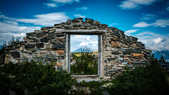 frame in frame (Stephan Harmes) Tags: haus house old alt framing rahmen bild berge mountains sky himmel blau blue stone steine holz wood window fenster green grn clouds wolken austria sterreich alpen alps