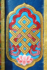 """Architecture detail of buddhist monastery - """" endless knot"""" or """"eternal knot&qu"""