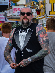 Formal Wear (tim.perdue) Tags: ohio state fair 2016 summer exposition center columbus street candid colorful multicolored midway formal wear formalwear tuxedo tux shirt tshirt tattoos ink sleeve bald beard sunglasses