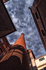 A glimpse of sky high (BigWhitePelican) Tags: tampere finland tampella bricks chimney sky clouds industrial canoneos7d adobelightroom6 colorefexpro4 2016 may