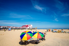 Great Yarmouth Beach & Pier (Neal_T) Tags: 12mm 2016 clouds coast colour fuji fujifilm greatyarmouth holiday norfolk norfolkcoast pier samyang samyang12mm sand sea seaside seasidetown sky summer sunshade sunney tourism ultrawideangle wideangle xt1 umbrella england unitedkingdom gb