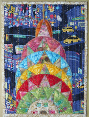 The Chrystler Building (Frieda Oxenham) Tags: art quilt newyork chryslerbuilding beading applique fabricpapercollage