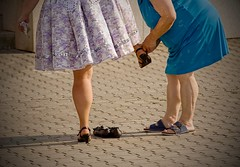 Vmna obut v depu. :-D (Hana Beckova) Tags: active adult beautiful female foot health healthy lace legs leisure outdoor shoe wellness woman women workout young mother daughter fastens slippers family elderly costume dress humor joke funny joy celebration feet pumps shoes feetup