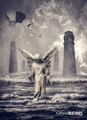 The Second Angel II (Ghost Of Nations Photography And Digital Art) Tags: ghostofnationsphotography ghostofnations gloomy statue sculpture spooky scary water liminal gothic newgothic neogothic surreal disquiet