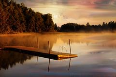 Clouds at dawn (BirgittaSjostedt) Tags: water lake summer morning fog foggy haze romantic mystic mysterious beauty bath bathing bridg tree reflectios mirror mirroring sun sunlit sunrise sweden legacy serene outdoor sky sunset dusk ~themagicofcolours~vi