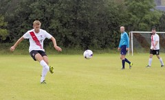 Jamie Lyden curls a dangerous delivery into the box (Stevie Doogan) Tags: clydebank glasgow perthshire exsel group sectional league cup wednesday 10th august 2016 holm park