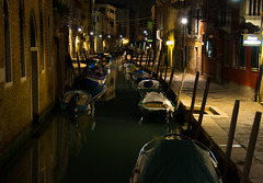 Night time near our hotel (Dave_Senior) Tags: venice italy davesenior nikon nikond7100 d7100 canal boat night lights reflection mood boats water outdoor 18200mmf3556gvrii nikkor