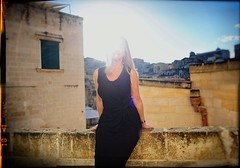 Woman in Black (Steve Lundqvist) Tags: open architecture matera basilicata italia italy woman black dress vestito womenswear portrait light