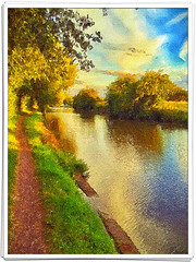 Day 256 of 366 - Canal Erosion! (editsbyjon) Tags: painterly phototoaster snapseed exposergl iphoneography iphone365 iphone sunset serene trees reflection water landscape coventrycanal canaltowpath suttonstop canal brushstroke
