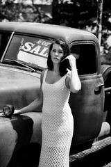 Vintage Beauty (b&w) (AJ Photographic Art) Tags: ajphotographicart heather johnhoey ma massachusetts massachusettsphotographer newenglandphotographer bw blackandwhite brunette gorgeous lady modelshoot monochromatic outdoors photoshoot posing pretty prety vintagechevytruck whitedress woman