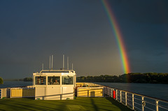 Rainbow from a ship on the Danube (tarjangz) Tags: ship river rainbow regenbogen szivrvny duna donau danube colors blue