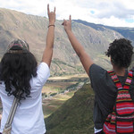 Communication major Nia Doaks, left, and criminology major Londun Isler show their Wolfpack pride in Pisac, Peru. Photo courtesy of Nia Doaks.