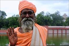 Baba with Glasses (Vincentdevincennes) Tags: baba glasses man people portrait kurukshetra haryana india orange hinduism