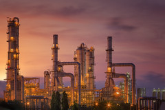 Oil refinery at twilight sky (anekphoto) Tags: auto lighting sunset chimney plant industry ecology metal night dark construction energy industrial technology power iran diesel smoke tube pipe greenpeace engineering automotive stack steam gas business smokestack pollution chemistry saudi arabia oil production environment petrol carbon protection distillery refinery economy pipeline built chemical supply petroleum manufacture distillation petrochemical colorfactory