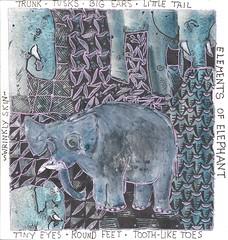 Elements of Elephant (molossus, who says Life Imitates Doodles) Tags: watercolor sketchbook sakura zia artjournal ohto danielsmith gelpen gellyroll zentangle zendoodle lunarblue zentangleinspiredart stillmanandbirn graphicliner