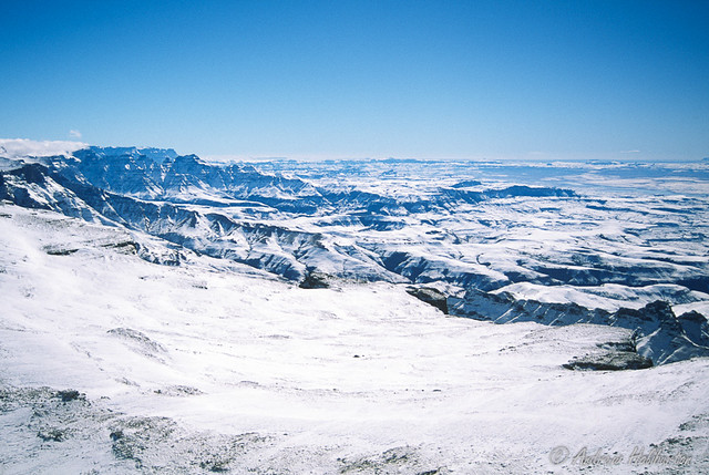 Drakensberg escarpment viewed from a Search and Rescue helicopter at 3,400m during the Drakensberg Snow Rescues July 7 to 11, 1996.