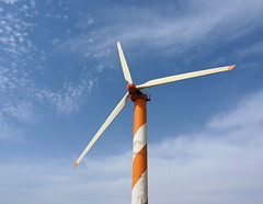 Lone turbine (Ilia K.) Tags: blue sky motion green ecology israel energy power wind pole clean mount generator electricity rotation eco turbine golanheights windfarm golan renewable rotor rotate dynamo windturbines ramathagolan cleantech mountbneirasan