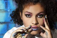 (Tc photography. Per) Tags: street pink blue portrait urban color art girl beauty face canon hair graffiti eyes hands colorful flash makeup lips basquiat tribute curlyhair nigga blackwoman blackart blackfashion tcphotography