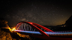 夏季銀河 Galaxy|阿里山 Tawian (里卡豆) Tags: bridge with taiwan olympus panasonic galaxy 台灣 chiayi f25 阿里山 alishan 14mm 銀河 ecf1 芙谷峩橋 epl7