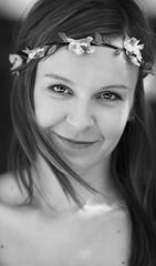 Portrait (Wojtek Piatek) Tags: portrait blackandwhite woman flower girl mono outdoor head sony band portret a99 zeiss135 naturalambientlight