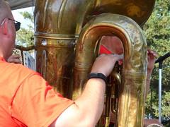 Tuba View of Malek's Fishremen Band, Performing at Forest City, Iowa (RV Bob) Tags: iowa maleksfishermenband band rv rally forestcityiowa forestcity gimp tuba musician