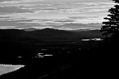 Between The Lakes - B&W (MIKOFOX  Show Your EXIF!) Tags: bw shadows valley burnarea yukon mountains spruce june xt1 blackandwhite canada mikofox foxlakefire summer littlefoxlakes firezone monochrome fujifilmxt1 landscape clouds foxlakeburn hills xf18135mmf3556rlmoiswr