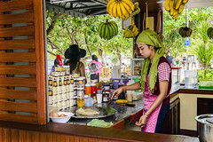 The Roti Pancake at Koh Phi Phi Don Island in the Andaman Sea, Thailand (Anoop Negi) Tags: young girl moslem scarf cooking koh phi don island thailand andaman sea boat food roti pancake nutella eggs banana cream butter street side breakfast lunch photo photography anoop negi ezee123 kohphiphidon