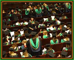Graduation Day 3. The Gathering (Margaret Edge the bee girl) Tags: nottingham orange black green waiting caps indoors gowns nottinghamshire royalconcerthall trentuniversity graduans
