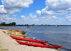 Colourful Kayaks - IN EXPLORE (Lois McNaught) Tags: summer ontario canada beach burlington landscape boats outdoor colourful kayaks scee