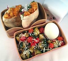 Mini Pita Bento (Cathryn3) Tags: bento lunch sandwich pita coleslaw cauliflower bbq zucchini tomato parmesan garlic hardboiledegg