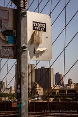 Tsotsi Sticker on the Brooklyn Bridge, New York