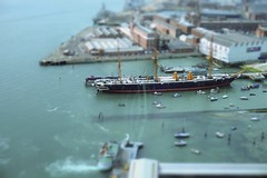 Miniature Ship (| Voiceb[ ]x Photography |) Tags: sonya6000 miniature toys ships water high up down sea habour hms portsmouth hmswarrior1860 hmswarrior history port attraction adamvoice photography phdockyard blue dockyard 1650mm spinnaker spinnakertower