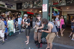 NO STOPS (panfriedcharlie) Tags: trio pikeplace blankstare washboard guitar streetmusicians seattle grii