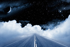 Road to the Galaxy (verseskonyv) Tags: road street highway freeway lines twolanes clouds cloudscape fog sky blue black night evening outer space dark moon crescent star stars galaxy starfield nebula nebulae astronomy infinity distant vanishingpoint empty nobody surreal artistic creative surrealisitic fantasy dream imagination mystery journey unknown toned monotone horizontal unitedstatesofamerica