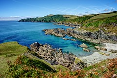 It's A Beautiful Day ... (john lunt) Tags: beautiful day idyllic summer autumn water blue sea sky green grass cliffs beach rock rocks shoreline coastal autumnal bracken brown sun sunny happy fresh freshness color colour lansallos south east cornwall england uk britain nature natural beauty scenic coast path holiday vacation tourism tourist spot clear clarity outdoor outdoors horizontal landscape seascape johnlunt john lunt nikon d810 24mm f14 prime lens hdr tonemapped