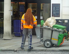 Swept away by his amazing hair.... early Saturday morning on Guildford High Street... (Sue - happy sparrow) Tags: redhair roadsweeper supermarket person worker work street highstreet guildford surrey morning summer august