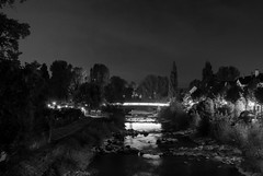 Lightbow (caracir) Tags: lights lightbow bridge blackandwhite nightphotography birsfelden basel birs river