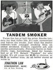 Tandem Smoker, 1955 (Tom Simpson) Tags: vintage ad ads advertising advertisement 1955 1950s cigarette smoke smoking