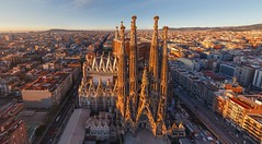 La Sagrada Familia - Aerial view (Arch_Sam) Tags: barcelona school sunset sculpture pope vatican bird art church station shop museum architecture sunrise underground temple dawn spain construction catholic doors technology cathedral metro roman glory basilica stonework gothic towers structures stjoseph aerialview tunnel catalonia exhibition unesco worldheritagesite architect artnouveau spanish gifts nave civilwar german ave passion forms date sagradafamilia spiritual crypt nativity carrer extraordinary faade catalan symbolism worldheritage holyfamily status curvilinear cubism antonigaudi completion benedictxvi transept sacredfamily highspeedtrains hyperboloid provena historyofart passionfaade nativityfaade naveceiling