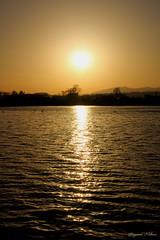 Spring sunset. (shig.) Tags: sunset sky orange sun sunlight lake water sunshine landscape pond dusk surface lakeside   afternoonsun waterside sunbeams