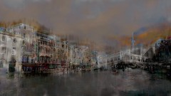 passenger (Bamboo Barnes - Artist.Com) Tags: bridge blue venice italy orange cloud white black reflection building green water painting landscape grey boat photo digitalart venezia bamboobarnes