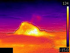 Thermal image of White Dome Geyser (9:06 PM, 8 June 2016) (James St. John) Tags: white dome geyser group lower basin yellowstone hotspot volcano wyoming thermal image photo picture temperature