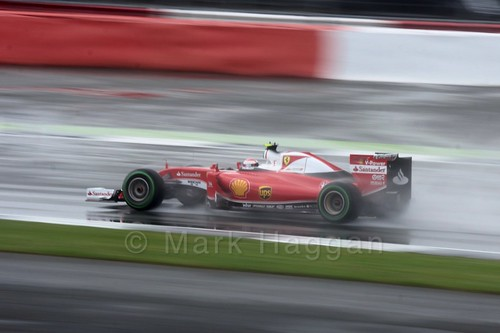 Kimi Raikkonen in his Ferrari in the 2016 British Grand Prix