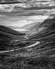 Road to Loch Maree (mcb photography) Tags: kinlochewe lochmaree maree loch scotland road valley bw blackandwhite blackwhite monochrome mikebarber mcbphotography wwwmcbphotographycouk hills mountains
