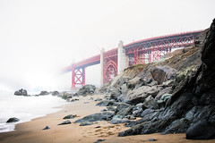 Disappearing (Aakash Gupta Photography) Tags: world sanfrancisco bridge red summer beach fog architecture outdoor goldengatebridge goldengate bayarea karl daytime marshallsbeach