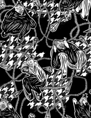 Herms & Houndstooth (leannaperry) Tags: urban white black building art abandoned fashion illustration ink paper ian design artist pattern graphic drawing patterns exploring surface textile collab draw leanna collaborative explorers perry luxury ferguson houndstooth herms urbex hydeon